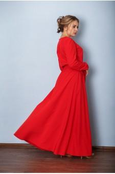 Платье М036-Пл Хлопок красный